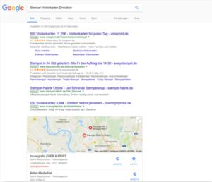 Die Google-Ergebnisseite (unter Fachleuten auch SERP genannt von Search Engine Results Page)